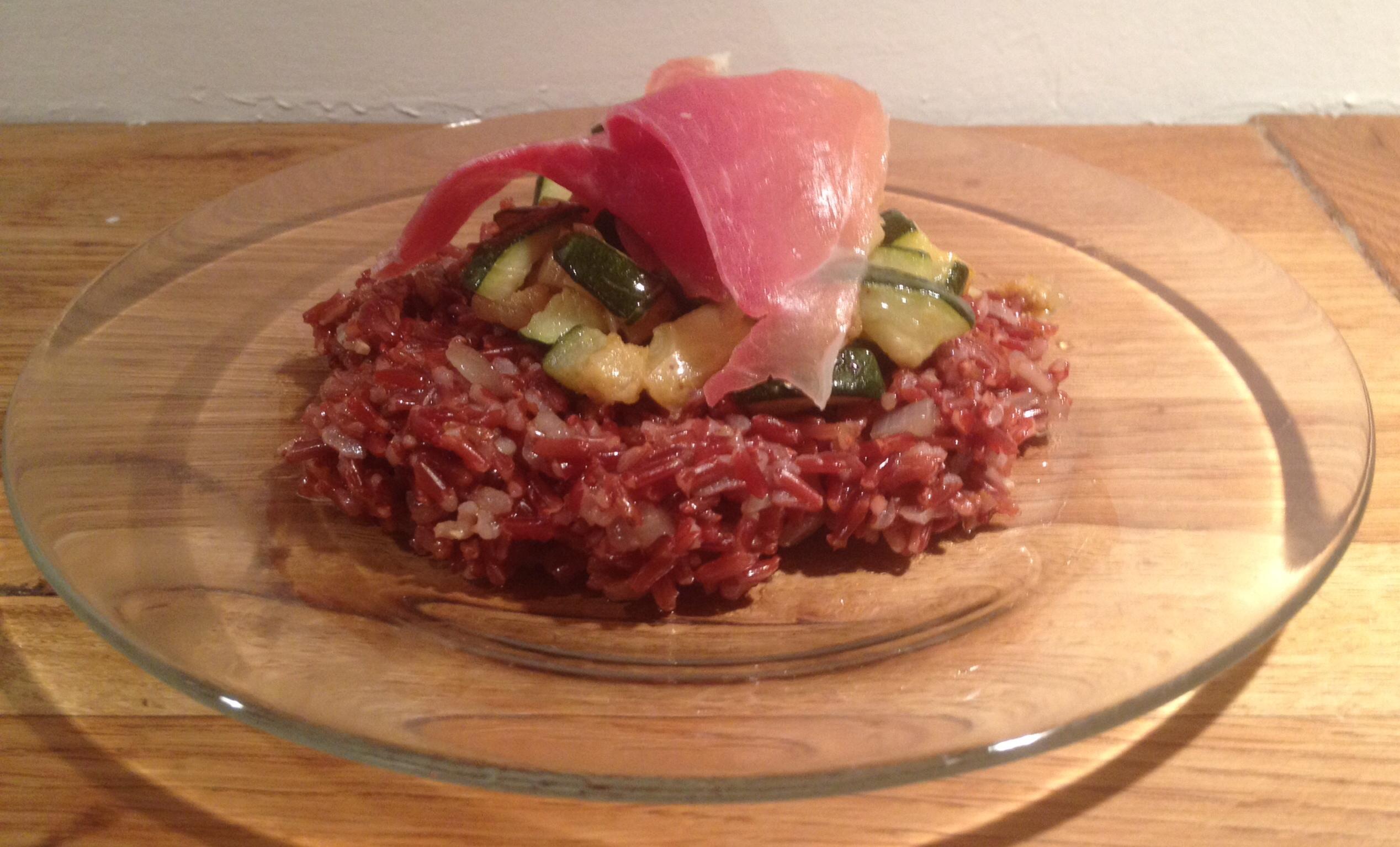 Riz rouge de Camargue façon pilaf, courgettes sautées et jambon de ... 1ea6f8615be